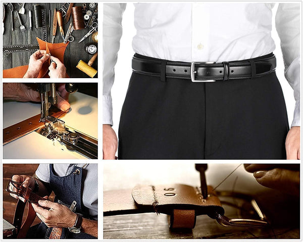 Men's Belt, Genuine Leather Dress Belts for Men - Classic & Fashion Design for Work Business and Casual - FLJ CORPORATIONS
