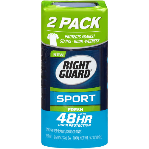 Right Guard Sport Antiperspirant Deodorant Invisible Solid Stick, Fresh, 2.6 Ounce (Pack of 2) - FLJ CORPORATIONS