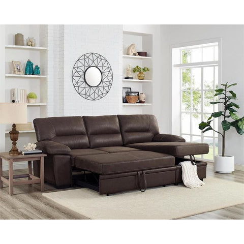 Kipling Brown Microfiber Reversible Sleeper Sectional Sofa Storage Chaise