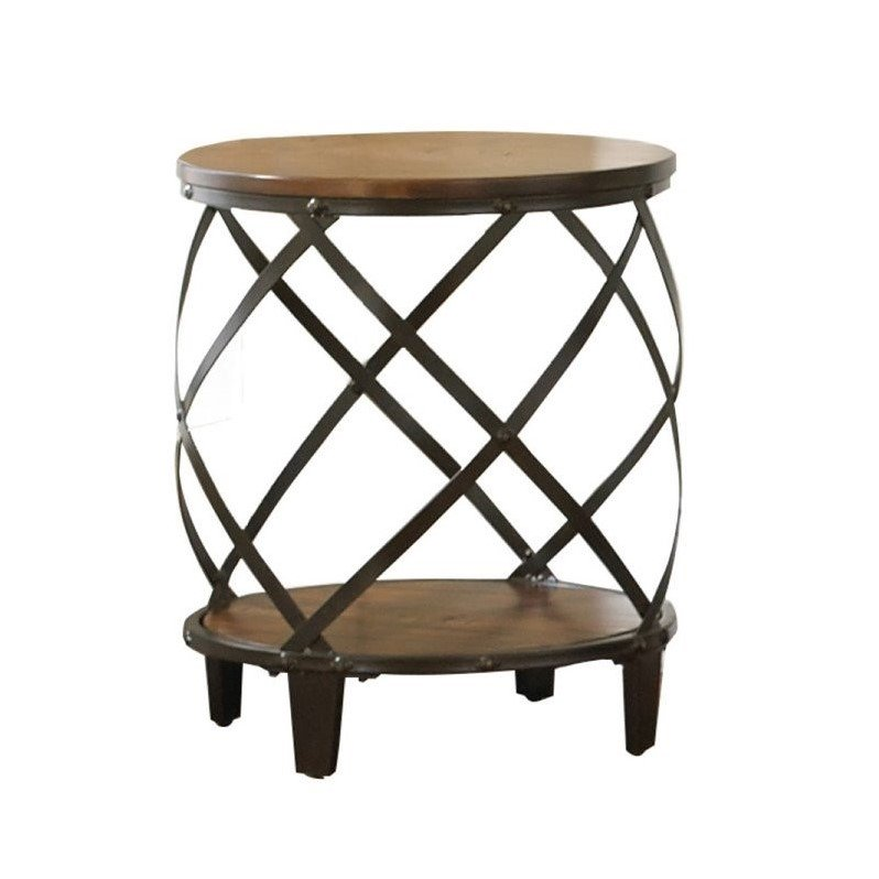 Steve Silver Company Winston Round End Table in Distressed Tobacco - FLJ CORPORATIONS