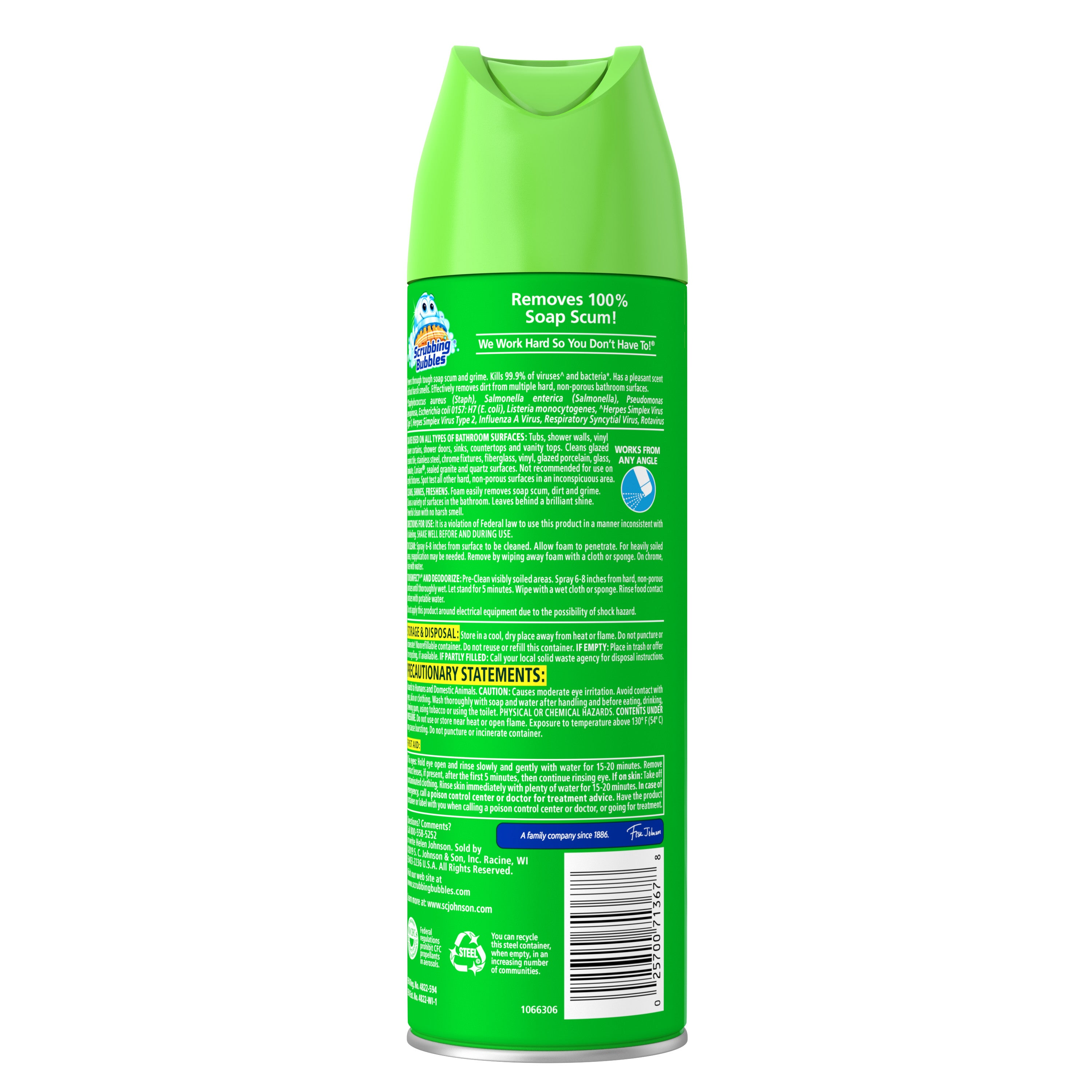 Scrubbing Bubbles Disinfectant Bathroom Grime Fighter Aerosol, Rainshower, 20 oz - FLJ CORPORATIONS