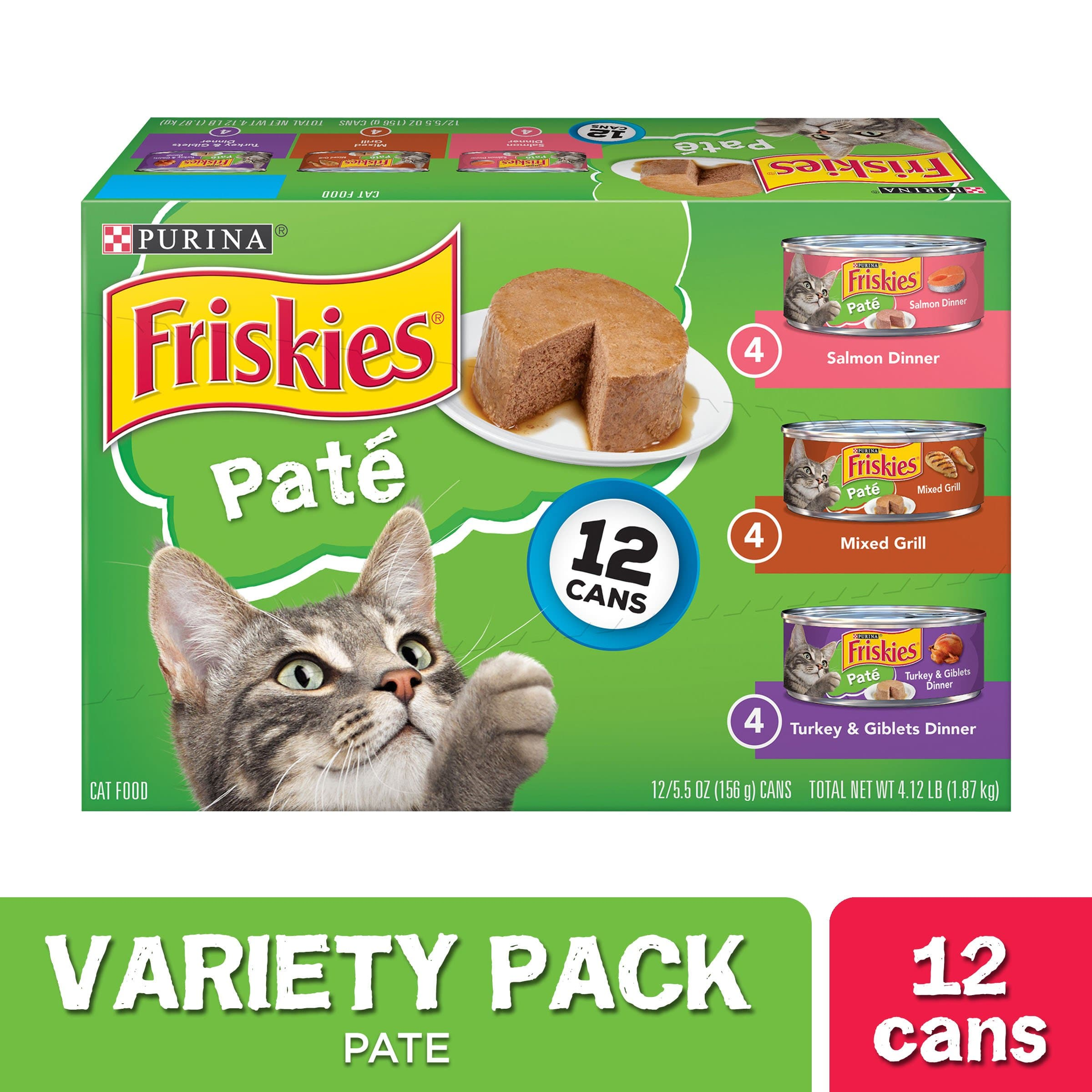 (12 Pack) Friskies Pate Wet Cat Food Variety Pack, Salmon, Turkey & Grilled, 5.5 oz. Cans - FLJ CORPORATIONS