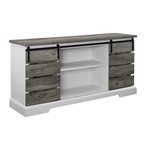 "Farmhouse Grey Wash TV Stand For TVs up to 64"" by Manor Park - FLJ CORPORATIONS"