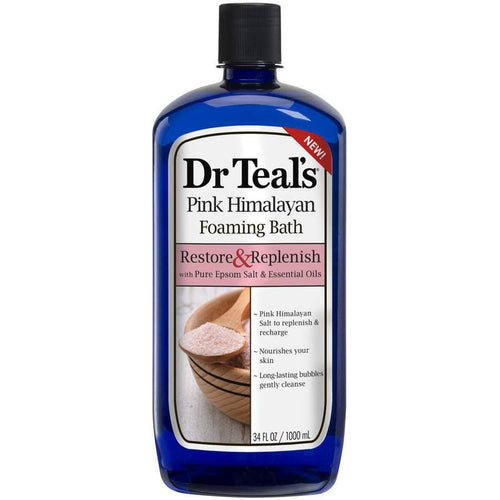Dr Teal's Pink Himalayan Foaming Bath, Relax & Replenish with Pure Epsom Salt & Essential Oils, 34 fl.oz. - FLJ CORPORATIONS
