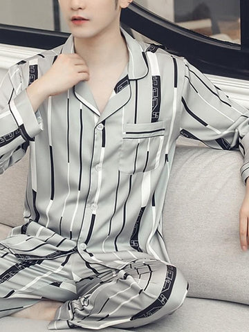Men's Shirt Collar Suits Pajamas Geometric