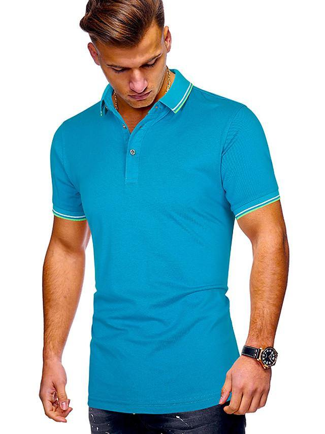 Men's Daily Polo Solid Colored Short Sleeve Tops Cotton Shirt Collar White Blue Purple