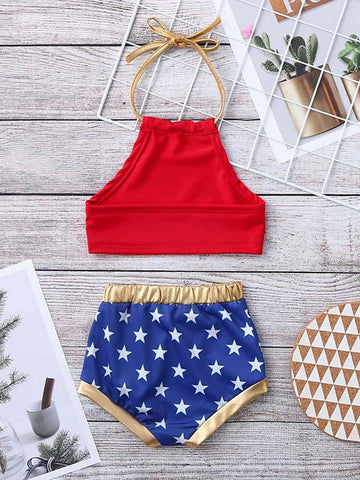 Baby Girls' Basic Flag Sleeveless Regular Clothing Set Red