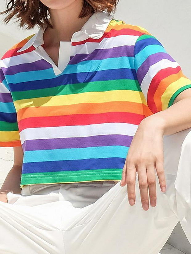Women's Daily T-shirt Striped Short Sleeve Slim Tops Shirt Collar Rainbow