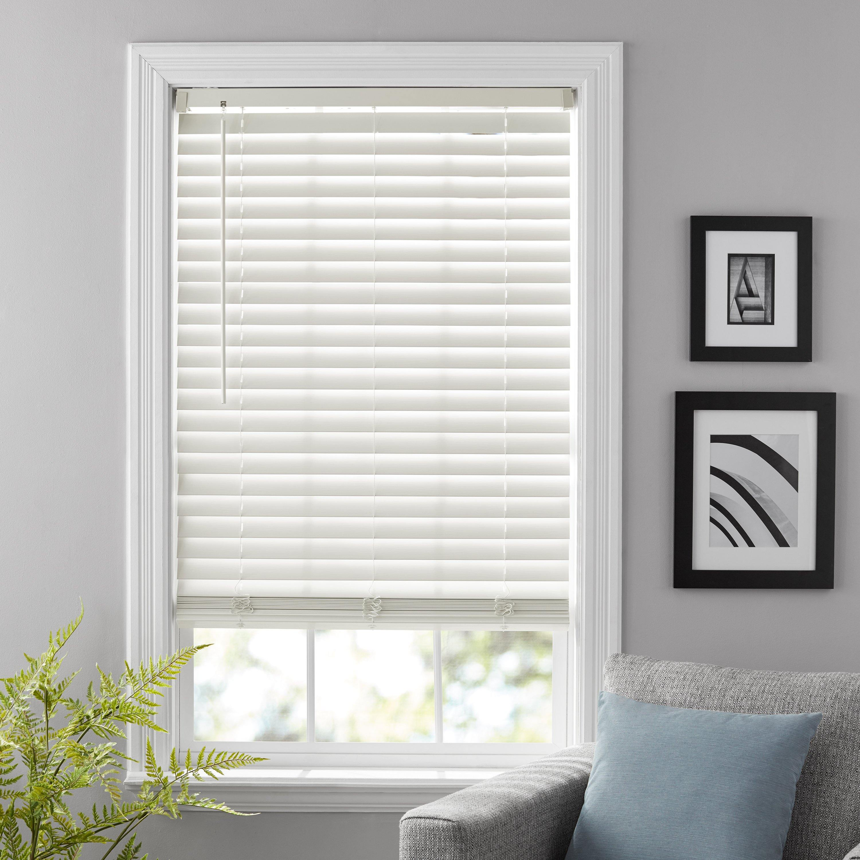 Better Homes & Gardens 2-Inch Cordless Faux Wood Blinds, Antique White, 23 x 64 in.