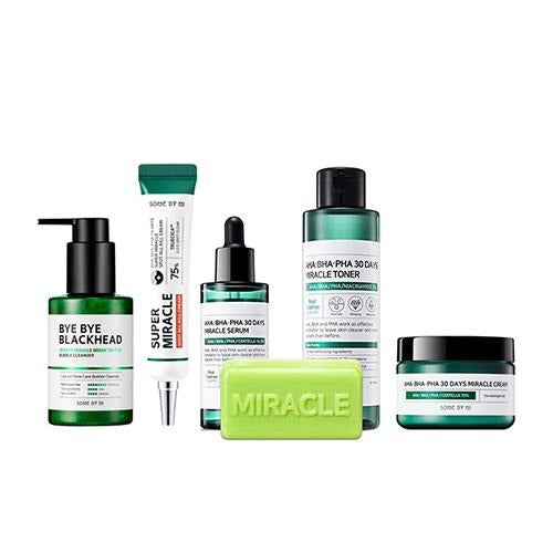 [ SOME BY MI ] 30 Days Miracle Toner + Serum + Cream + Spot Kill Cream + Blackhead Cleanser + Cleansing Bar (SET) - FLJ CORPORATIONS