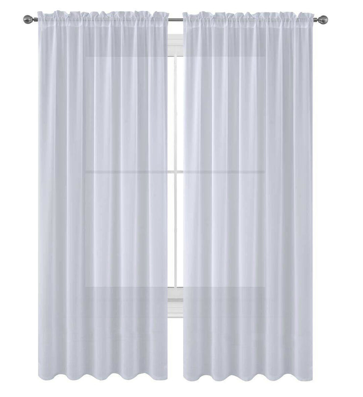 "Decotex 2 Piece Elegant Solid Sheer Window Curtain Panels Treatment Drapes (55"" X 108"", White) - FLJ CORPORATIONS"