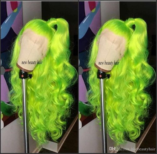High quality Fluorescent Green cosplay wigs red/blonde/blue/burgundy brazilian full lace wig heat resistant synthetic hair wig for women - FLJ CORPORATIONS