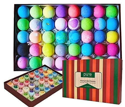Natural Bath Bombs Gift Set - Bath Bombs for Kids & Adults Infused with Essential Oils! Individually Wrapped Lush Bath Bomb Gift Set for Women & Kids! (40 Pure Bath Bombs) - FLJ CORPORATIONS