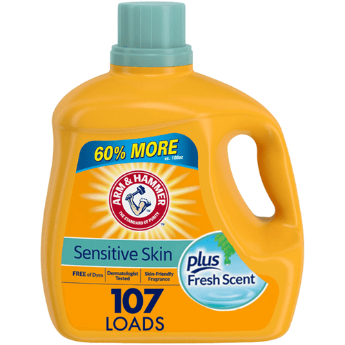 Arm & Hammer Liquid Laundry Detergent for Sensitive Skin plus Skin-Friendly Fresh Scent, 107 loads - FLJ CORPORATIONS