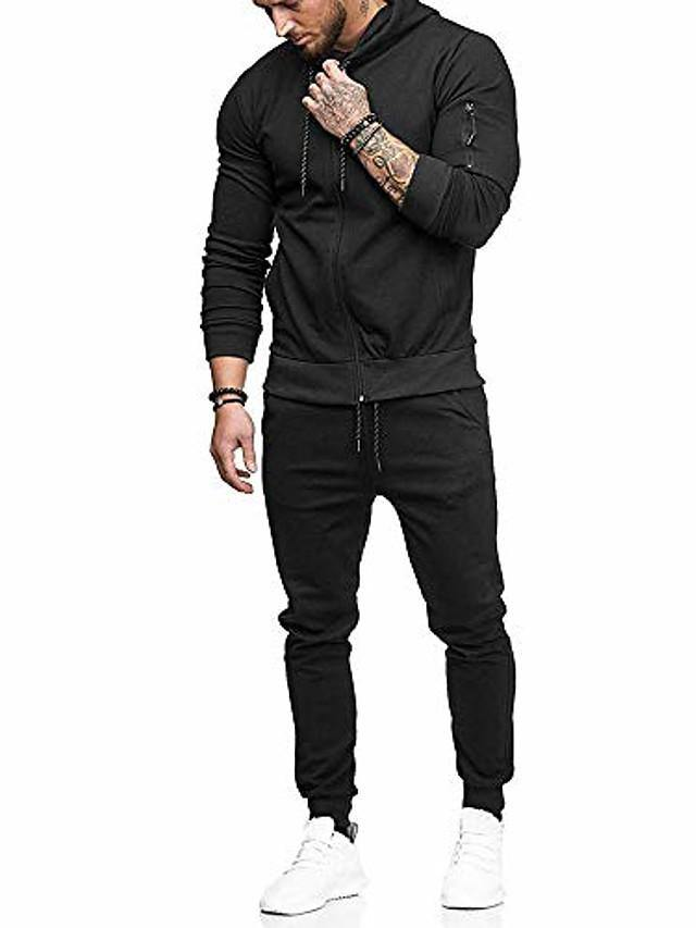 men patchwork zipper sweatshirt top pants sets sports suit tracksuit muscle hoodie (M-3XL, black)