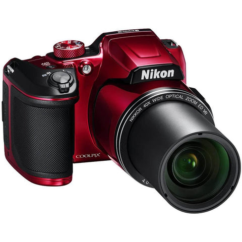 Nikon COOLPIX B500 16MP 40x Optical Zoom Digital Camera w/ WiFi - Red (Renewed) + 16GB SDHC Accessory Bundle - FLJ CORPORATIONS