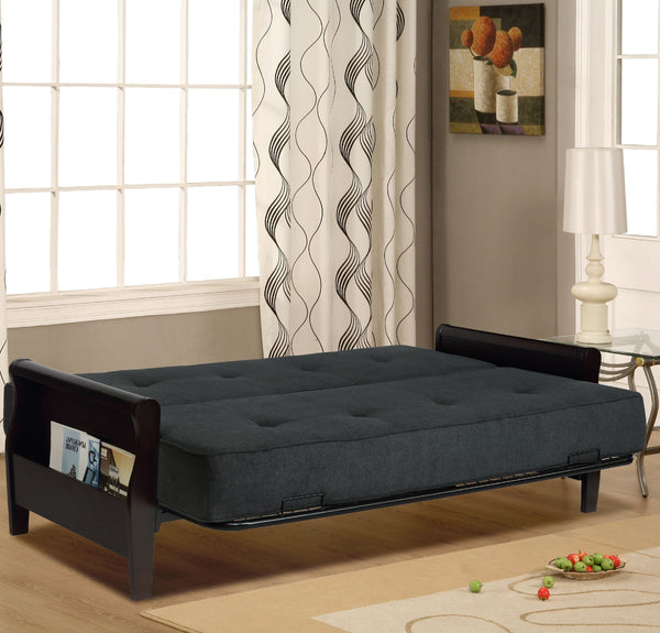 "Relax A Lounger Conway Wood Storage Arm Futon with 8"" Mattress, Dark Grey - FLJ CORPORATIONS"