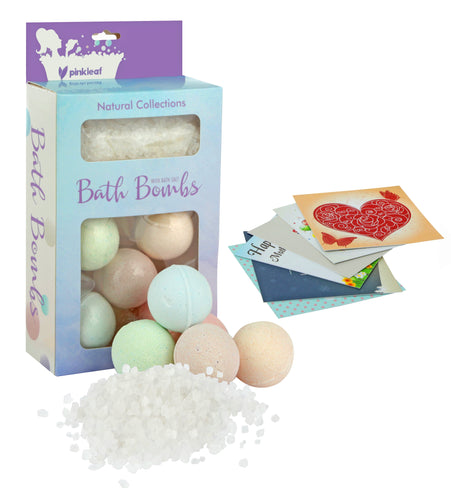 Pinkleaf Scented Bath Salts & Fizzy Bombs Variety Pack Spa Gift Set - FLJ CORPORATIONS