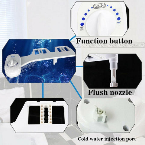 US Free shipping 7/8 Toilet Seat Attachment Bathroom Water Spray Non-Electric Mechanical self-cleaning Bidet