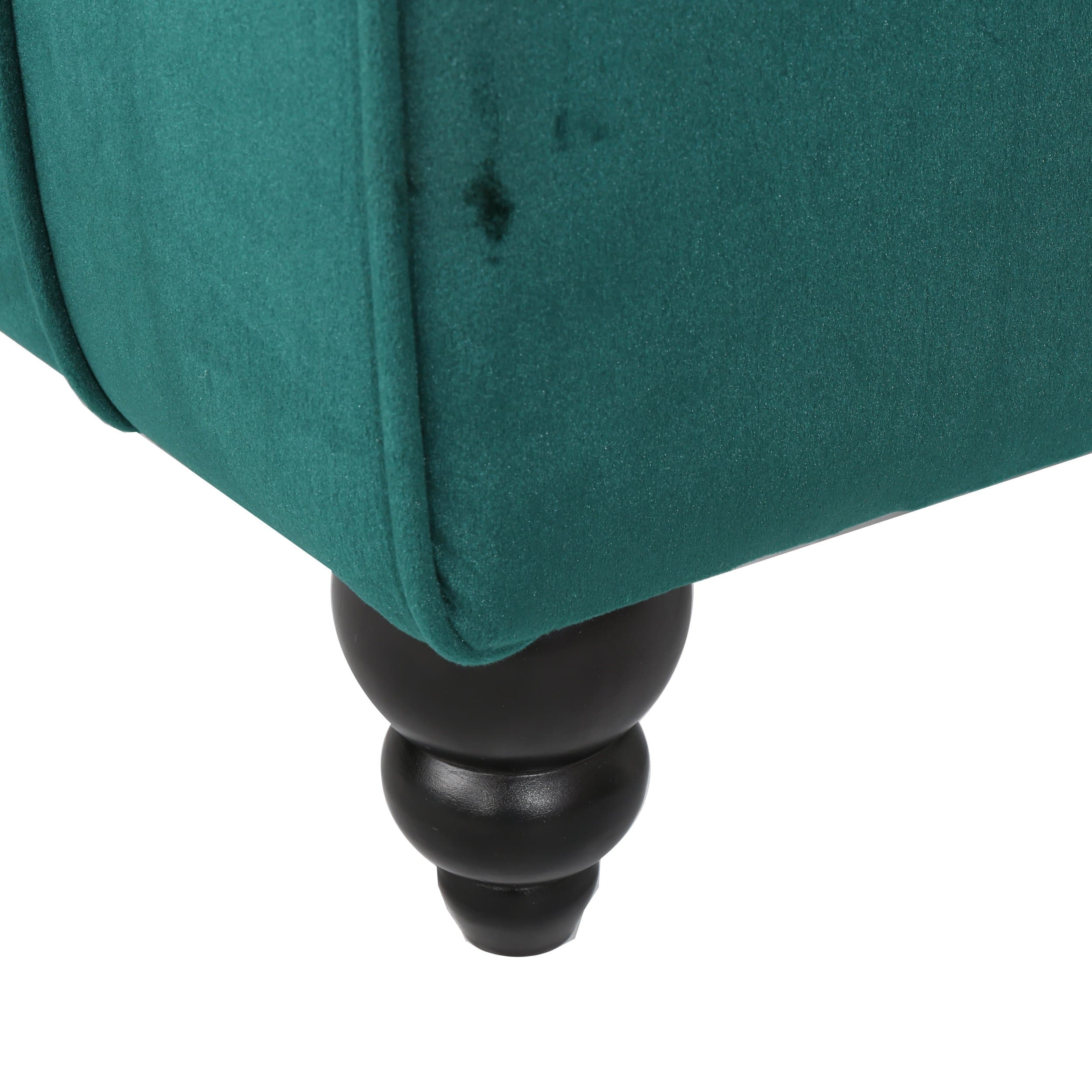 Rafaela Modern Glam Tufted Velvet Chaise Lounge with Scrolled Backrest, Dark Teal and Dark Brown - FLJ CORPORATIONS