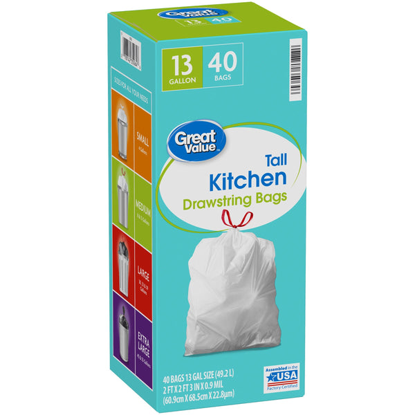 Great Value™ 13 Gallon Tall Kitchen Drawstring Bags 40 ct Box - FLJ CORPORATIONS