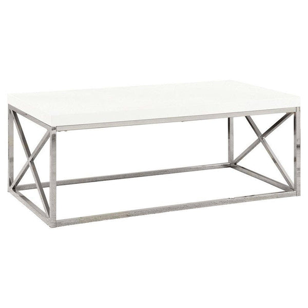 Monarch Coffee Table Glossy White With Chrome Metal - FLJ CORPORATIONS
