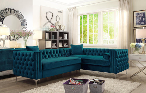 Chic Home Susan Right Hand Facing Sectional Sofa L Shape Velvet Button Tufted with Silver Nail Head Trim Silvertone Metal Y-Leg with 3 Accent Pillows Modern Contemporary, Teal