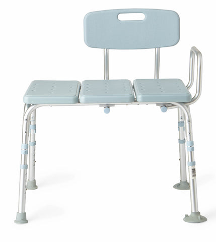 Medline Tub Transfer Bench With Back, Microban Antimicrobial Protection, 300lb Weight Capacity, Blue Seat And Chair Back