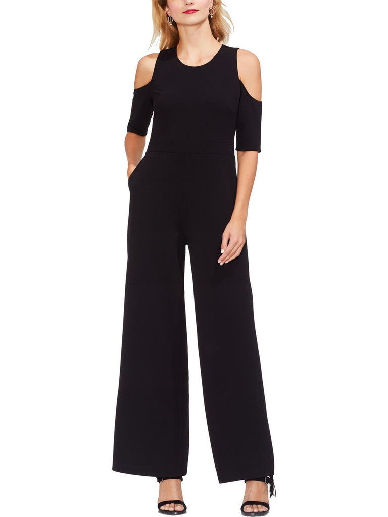 Shoulder Wide Leg Jumpsuit Black - FLJ CORPORATIONS