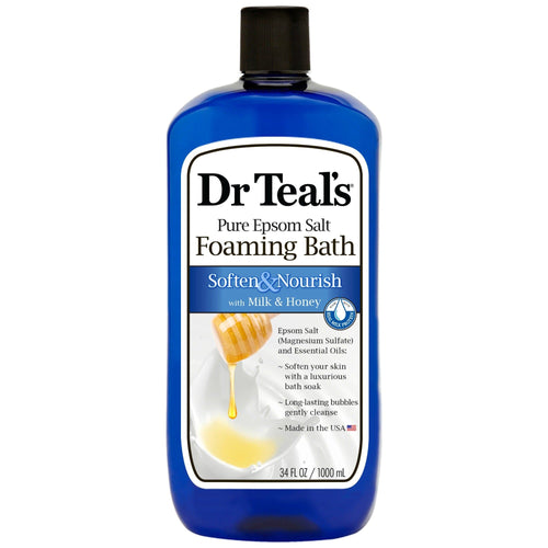 (2 pack) Dr Teal's Soften & Nourish with Milk & Honey Foaming Bath, 34 oz - FLJ CORPORATIONS
