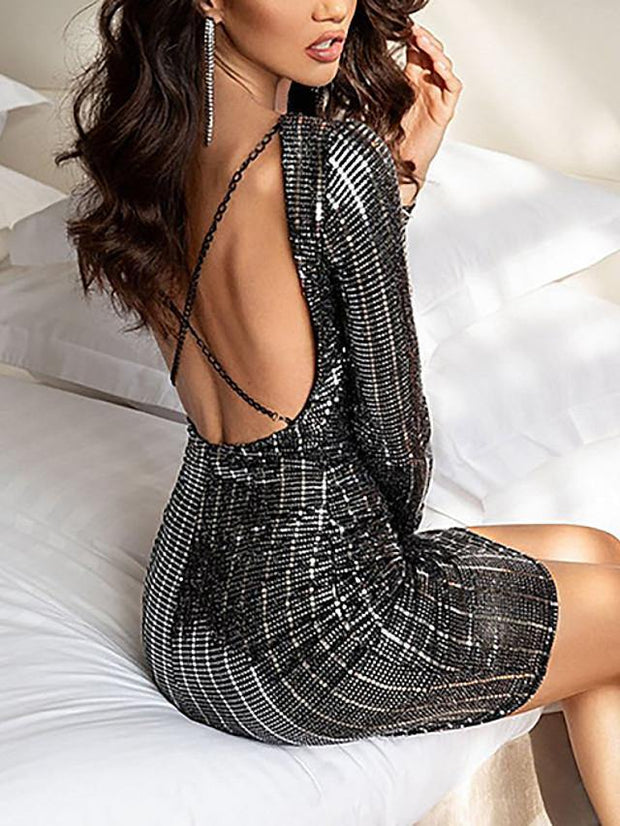 Women's A-Line Dress Short Mini Dress - Long Sleeve Solid Color Sequins Spring Fall Sexy Daily Holiday Slim Black S M L XL