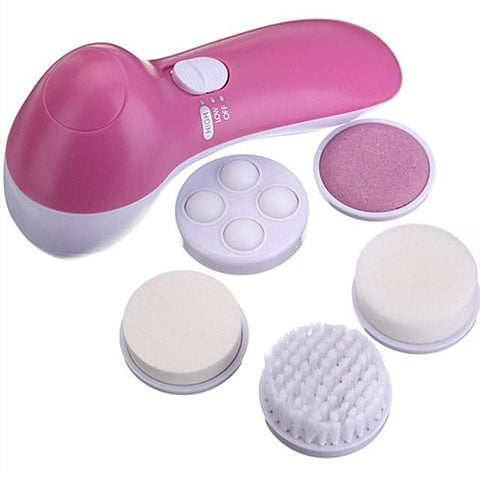 5in1 Wash Face Facial Pore Cuticle Cleaner&Body Skin Cleans Beauty Massager 5 Massager Brush Head - FLJ CORPORATIONS