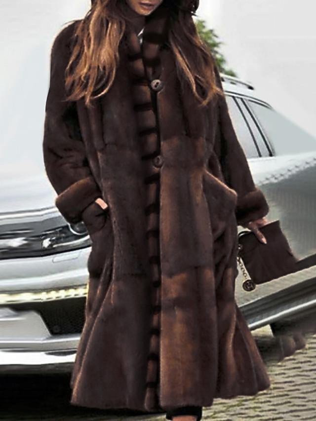 Women's Stand Collar Faux Fur Coat Long Solid Colored Party Basic Brown S M L / Oversized