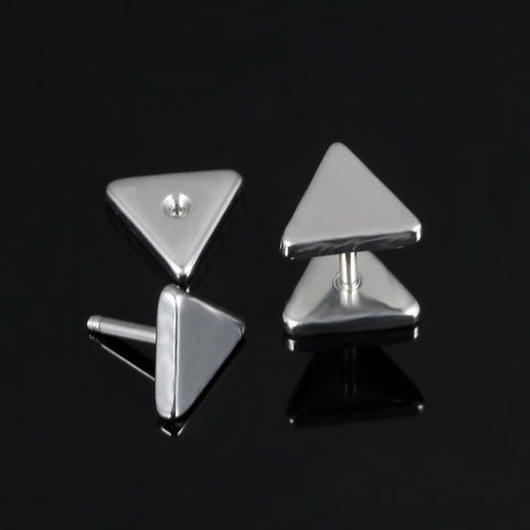 Men's Stud Earrings Classic Precious Punk Trendy Rock Korean Fashion Stainless Steel Earrings Jewelry Black / Silver For Party Carnival Street Club Bar 1 Pair - FLJ CORPORATIONS