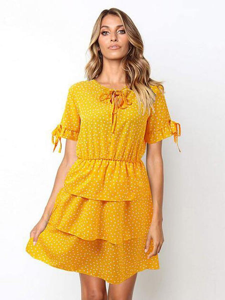 Women's Shift Dress Short Mini Dress - Short Sleeve Polka Dot Layered Print Summer V Neck Holiday Vacation Yellow Green S M L XL