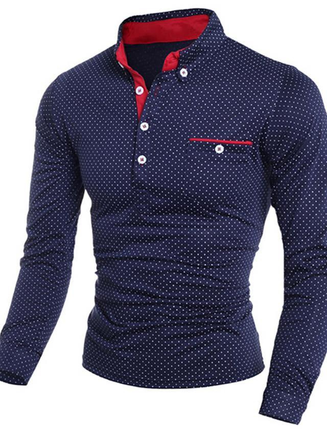 Men's Polo Polka Dot Print Long Sleeve Slim Tops Shirt Collar White Black Navy Blue