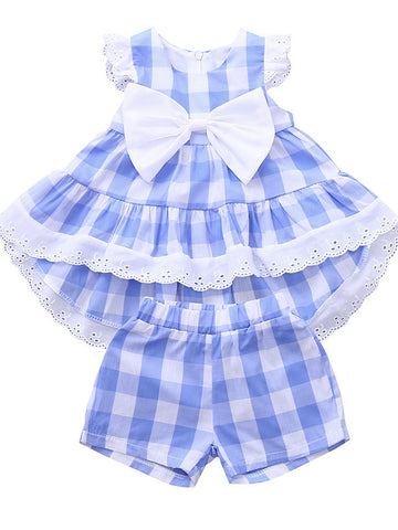 Baby Girls' Casual / Active Plaid Lace / Bow Sleeveless Long Clothing Set Light Blue
