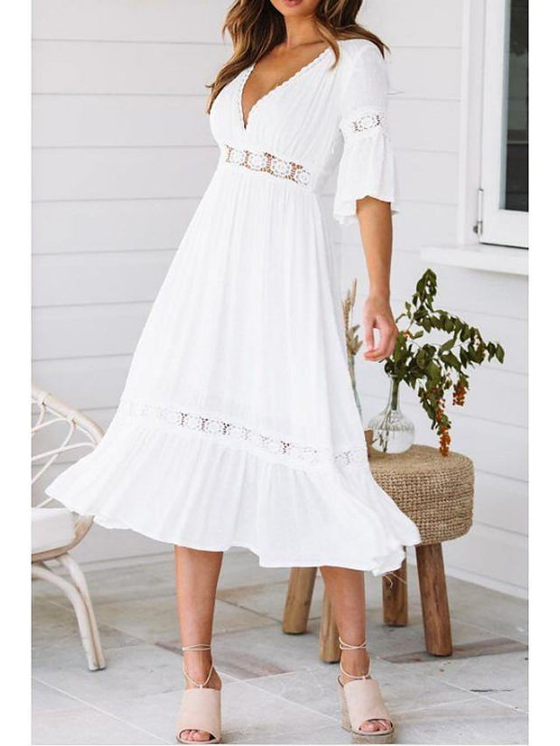 Women's Swing Dress Midi Dress - Half Sleeve Solid Colored Summer Spring & Summer V Neck Beach Flare Cuff Sleeve White S M L XL / Sexy