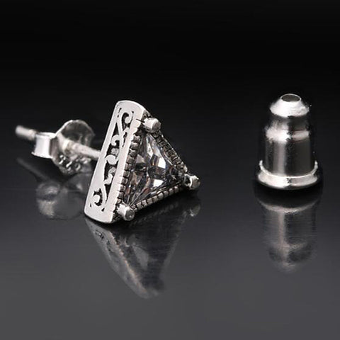 Men's Stud Earrings Geometrical Precious Fashion Silver Plated Earrings Jewelry Black / White / Blue For Daily Street Work 1 Pair - FLJ CORPORATIONS