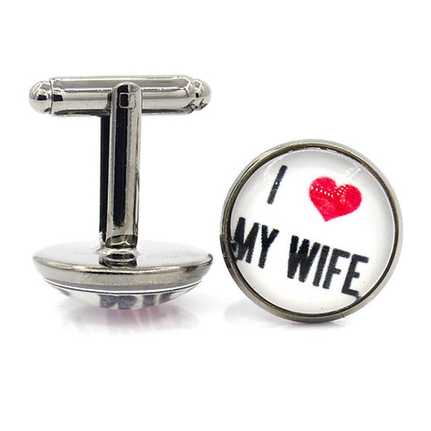 Cufflinks Heart Classic Basic Brooch Jewelry Black Brown Silver For Wedding Engagement