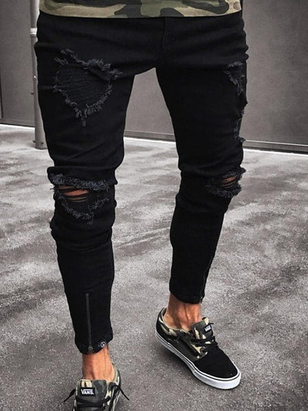 Men's Street chic Plus Size Daily Slim Bootcut Pants - Solid Colored Black S / M / L - FLJ CORPORATIONS