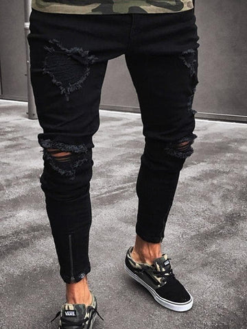 Men's Street chic Plus Size Daily Slim Bootcut Pants - Solid Colored Black S / M / L