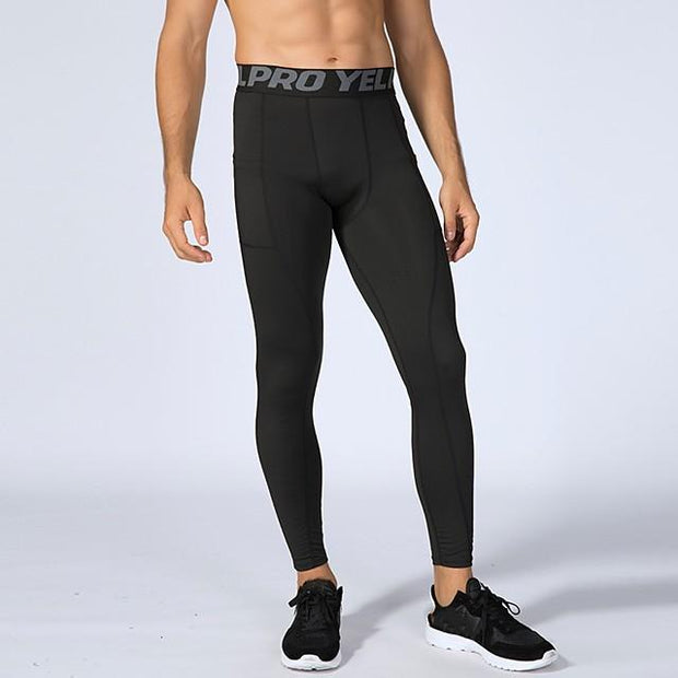 YUERLIAN Men's Leggings Running Tights Compression Pants with Phone Pocket Elastane Sports Tights Leggings Running Fitness Workout Breathable Quick Dry Sweat-wicking Solid Colored White Black Red - FLJ CORPORATIONS