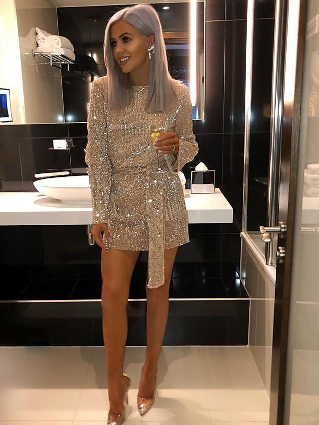 Women's Sheath Dress Short Mini Dress - Long Sleeve Solid Color Sequins Fall Sexy Party Gold S M L XL