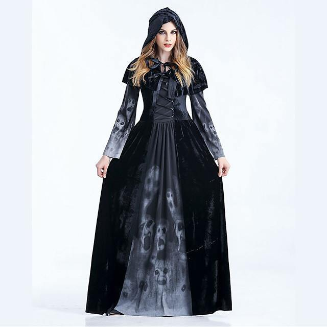 Witch Dress Cosplay Costume Cloak Adults' Women's Dresses Vacation Dress Halloween Halloween Carnival Masquerade Festival / Holiday Polyster Black Women's Easy Carnival Costumes Patchwork