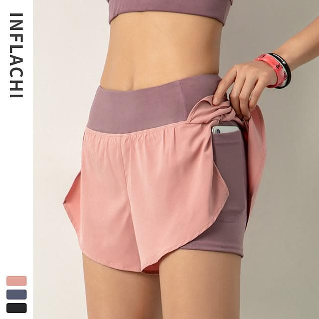 INFLACHI Women's Running Shorts Athletic Shorts Workout Shorts 2 in 1 with Phone Pocket Sports Bottoms Running Marathon Jogging Training Lightweight Breathable Quick Dry Solid Colored Black Blushing - FLJ CORPORATIONS
