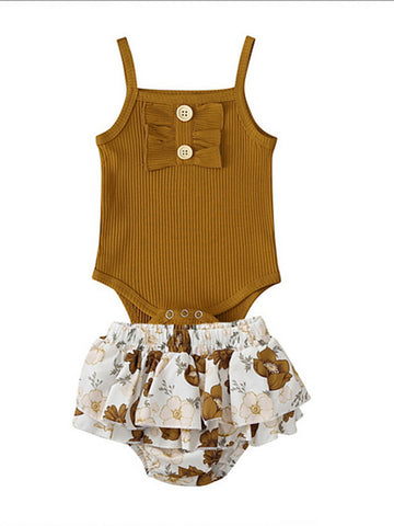 Baby Girls' Basic Floral Sleeveless Regular Clothing Set Khaki / Toddler