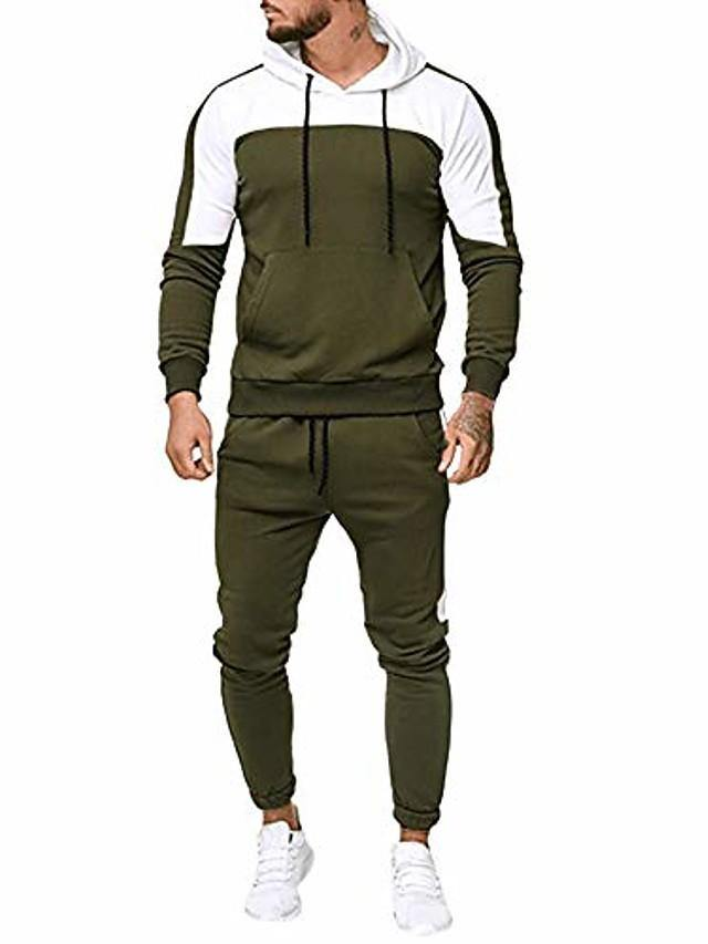 jogging tracksuit sportsuit sportswear slim fit, hooded coat sweat jacket + pants sweatpants (M-3XL, green-a)