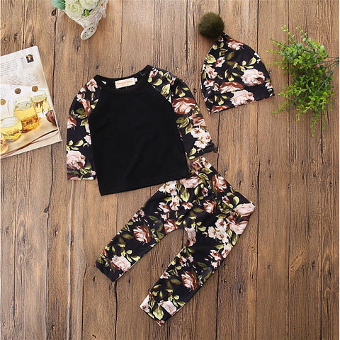 Baby Girls' Hat / Floral Daily / Casual Floral / Pattern Long Sleeve Regular Regular Cotton Clothing Set Black / Toddler