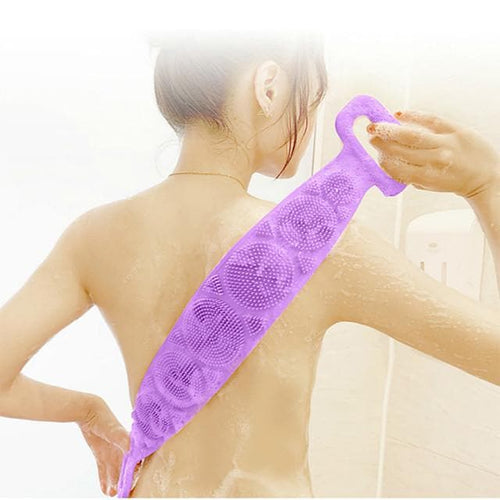 Long Back Towel Loofah Scilicone Rubbing Bath Brush Sided Scrubber Silicone Scrub Body Skin Care Rubbing Exfoliate Home Bathroom Shower Washing - FLJ CORPORATIONS